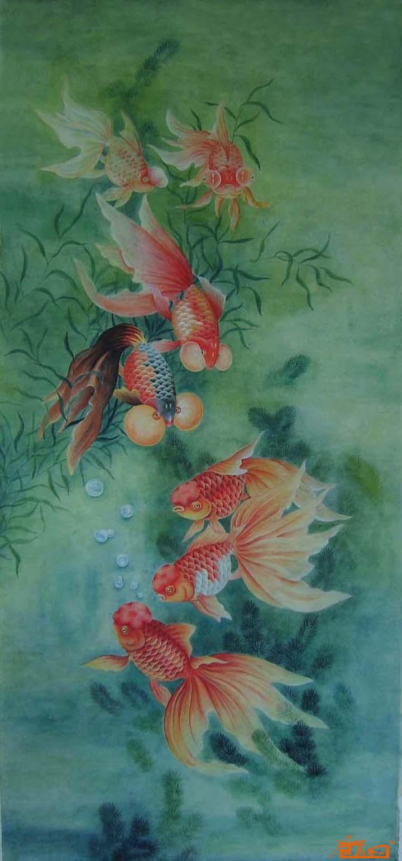 国画简单动物金鱼