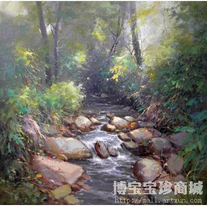 名家 杨晓东 油画;当代艺术; - 杨晓东 小溪流水(一) 类别: 风景油画x